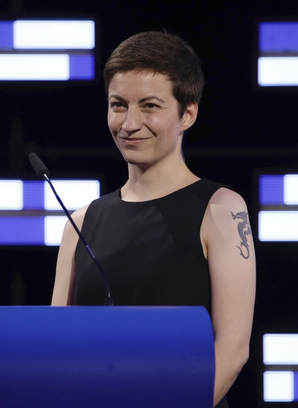 Co-President of the Greens/EFA Group, Ska Keller, speaks in the hemicycle of the European Parliament in Brussels, Sunday, May 26, 2019. From Germany and France to Cyprus and Estonia, voters from 21 nations went to the polls Sunday in the final day of a crucial European Parliament election that could see major gains by the far-right, nationalist and populist movements that are on the rise across much of the continent. (AP Photo/Olivier Matthys)