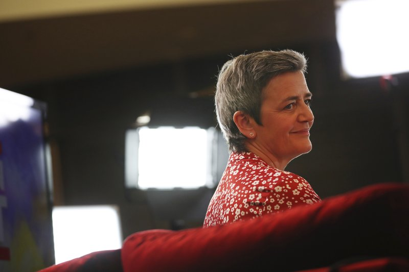 Candidate to the presidency of the European Commission, Denmark's Margrethe Vestager, waits to take the stage at the European Parliament in Brussels, Monday, May 27, 2019. From Germany and France to Cyprus and Estonia, voters from 21 nations went to the polls Sunday in the final day of a crucial European Parliament election that could see major gains by the far-right, nationalist and populist movements that are on the rise across much of the continent.(AP Photo/Francisco Seco)
