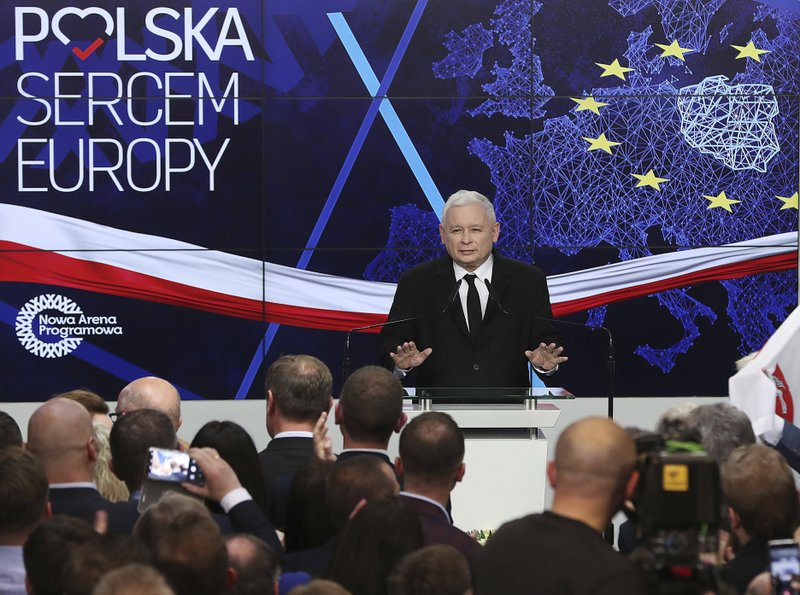 Jaroslaw Kaczynski, leader of PiS party ,Law and Justice, gives a speech after announcing the first results of the European parliament election in Warsaw, Poland, Sunday, May 26, 2019.The poster on the wall reads