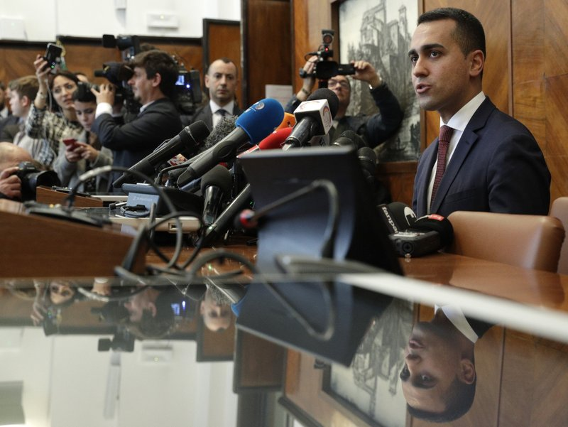 Leader of Five-Star Movement, Luigi Di Maio, meets the media in Rome, Monday, May 27, 2019. Hardline Interior Minister Matteo Salvini's League party - who is casting himself as the standard bearer for populist far right in Europe - won the Italian vote and jumps from 6 to 28 seats in the European Parliament. (AP Photo/Andrew Medichini)