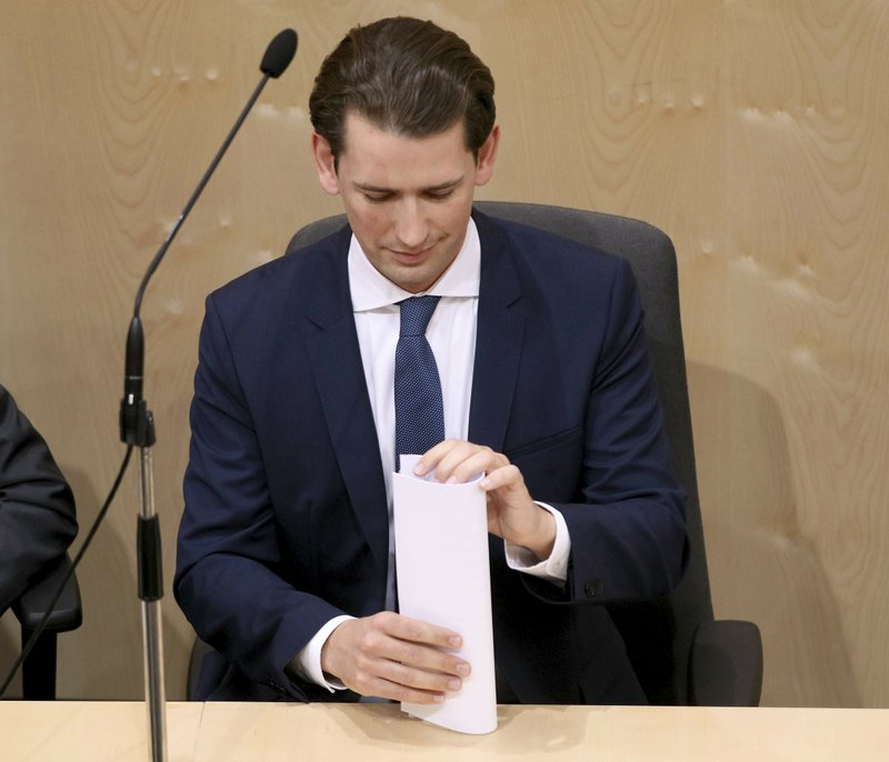 Austrian Chancellor Sebastian Kurz attends at parliament session in Vienna, Austria, Monday, May 27, 2019. Chancellor Sebastian Kurz faces a no-confidence vote at the parliament session. (AP Photo/Ronald Zak)