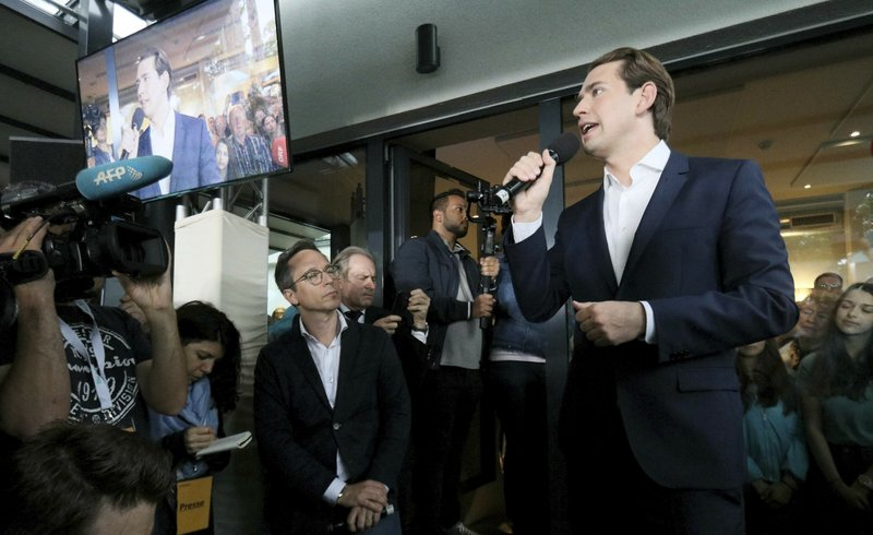 Austrian Chancellor Sebastian Kurz speaks to his supporters at the political headquarters of Austrian People's Party, OEVP, in Vienna, Austria, Monday, May 27, 2019. Chancellor Sebastian Kurz's center-right party recorded a big win in European elections, but he was ousted Monday following the collapse of his scandal-tainted coalition. (AP Photo/Ronald Zak)