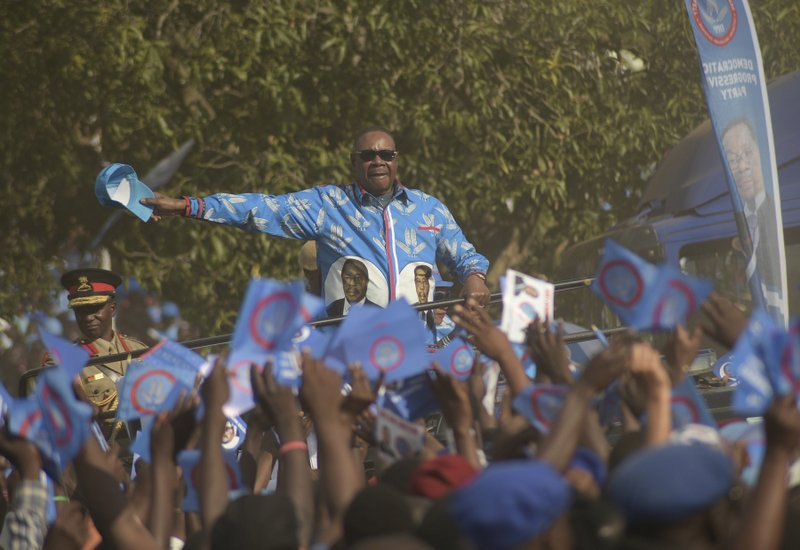 Malawian President, Peter Mutharika, arrives at his party's Democratic Progressive Party (DPP) final election rally in Blantyre, Malawi, Saturday, May 18, 2019. Corruption and the need for economic growth are the main campaign issues as Malawi goes to the polls on Tuesday for a presidential election that pits the incumbent 78-year-old president Peter Mutharika of the ruling Democratic Progressive Party against his own vice president, 46-year-old Saulos Chilima as well as the main opposition party leader Lazarus Chakwera, 64. (AP Photo/Thoko Chikondi)