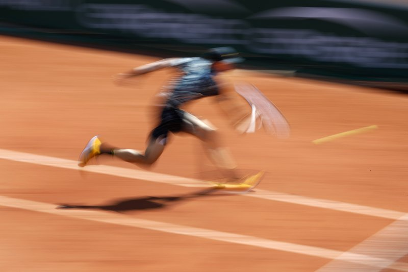 Chile's Nicolas Jarry plays a shot against Argentina's Juan Martin del Potro during their first round match of the French Open tennis tournament at the Roland Garros stadium in Paris, Tuesday, May 28, 2019. (AP Photo/Pavel Golovkin)
