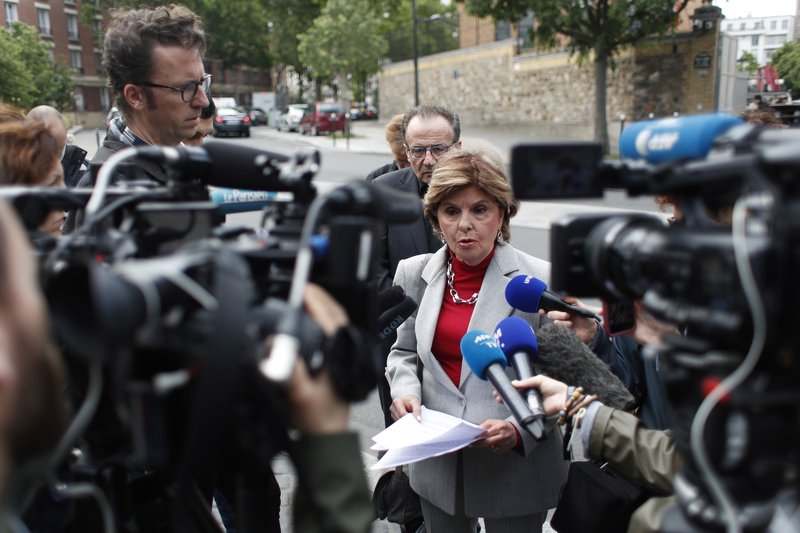 American lawyer Gloria Allred gives a press conference, in Paris, Tuesday, May 28, 2019. The lawyer for a woman who filed a rape complaint in Paris against Chris Brown says the American rap artist