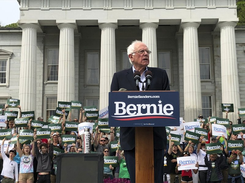 Presidential hopeful Sen. Bernie Sanders held his first home state rally of his 2020 campaign on Saturday, May 25, 2019, in front of the Statehouse in Montpelier, VT. (AP Photo/Lisa Rathke)