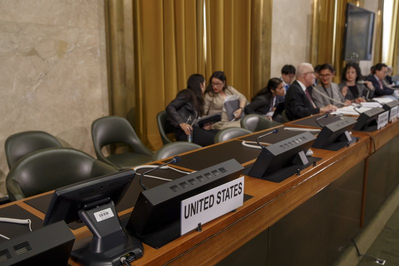 The seat of the US delegation is empty in protest against the presidency of Venezuela during the Conference on Disarmament at the European headquarters of the United Nations in Geneva, Switzerland, Tuesday, May 28, 2019. (Salvatore Di Nolfi/Keystone via AP)