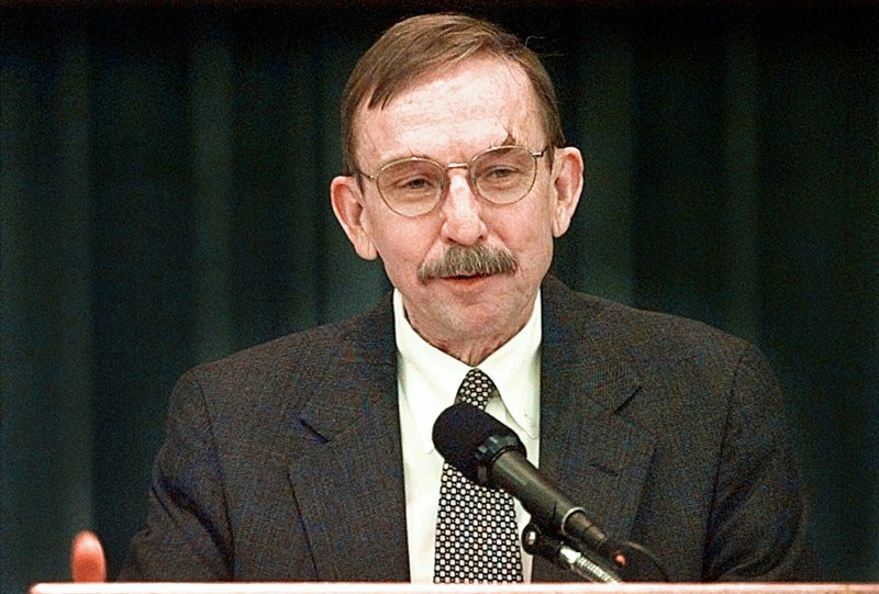 FILE - In this May 1, 1998, file photo, U.S. District Judge Richard Matsch speaks to a Law Day luncheon of the Tulsa County Bar Association in Tulsa, Okla. Matsch, the no-nonsense federal judge who gained national respect overseeing the Oklahoma City bombing trials died on Sunday, May 26, 2019, Jeffrey Colwell, the clerk of Colorado's federal court said. He was 88. (Brandi Stafford/Tulsa World via AP)