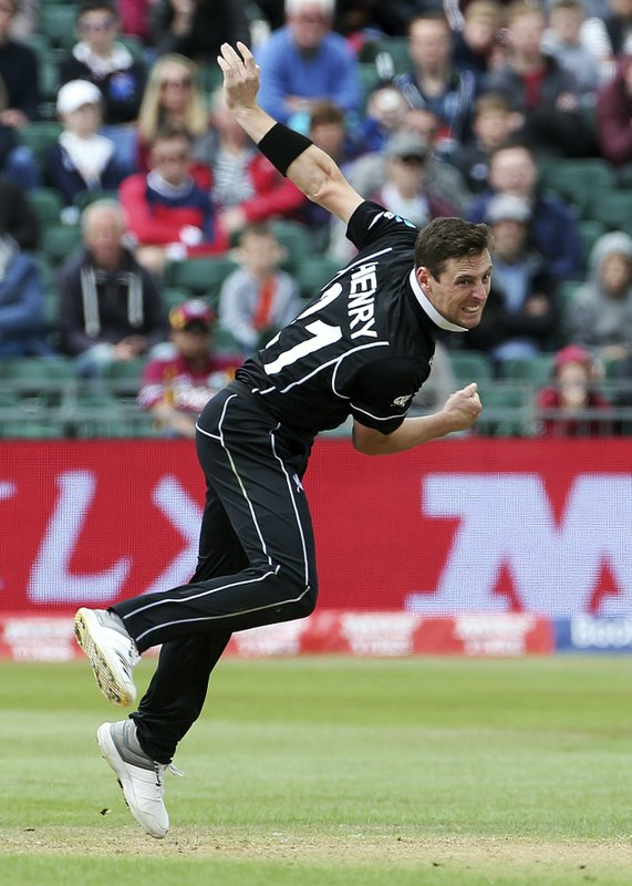New Zealand's Matt Henry bowls during the Cricket World Cup Warm up match against the West Indies at the Bristol County Ground, Bristol, England, Tuesday May 28, 2019. (Mark Kerton/PA via AP)