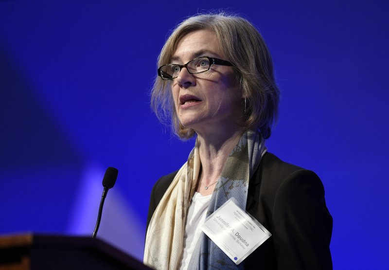 FILE - In this Dec. 1, 2015, file photo, Jennifer Doudna, a University of California, Berkeley, co-inventor of the CRISPR gene-editing tool that He Jiankui used, speaks at the National Academy of Sciences international summit on the safety and ethics of human gene editing, in Washington. Six months after He was widely scorned for helping to make the world's first gene-edited babies, Doudna said that she has heard of others who want to edit embryos. (AP Photo/Susan Walsh, File)