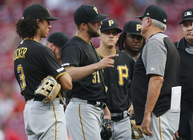 Pittsburgh Pirates starting pitcher Jordan Lyles (31) talks with manager Clint Hurdle, right, during the fourth inning of a baseball game against the Cincinnati Reds, Tuesday, May 28, 2019, in Cincinnati. (AP Photo/Gary Landers)