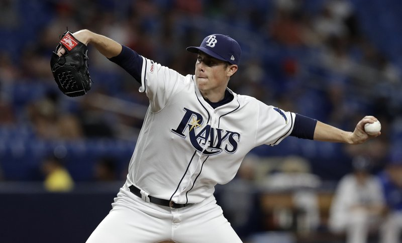 Tampa Bay Rays relief pitcher Ryan Yarbrough delivers to the Toronto Blue Jays during the fourth inning of a baseball game, Tuesday, May 28, 2019, in St. Petersburg, Fla. (AP Photo/Chris O'Meara)