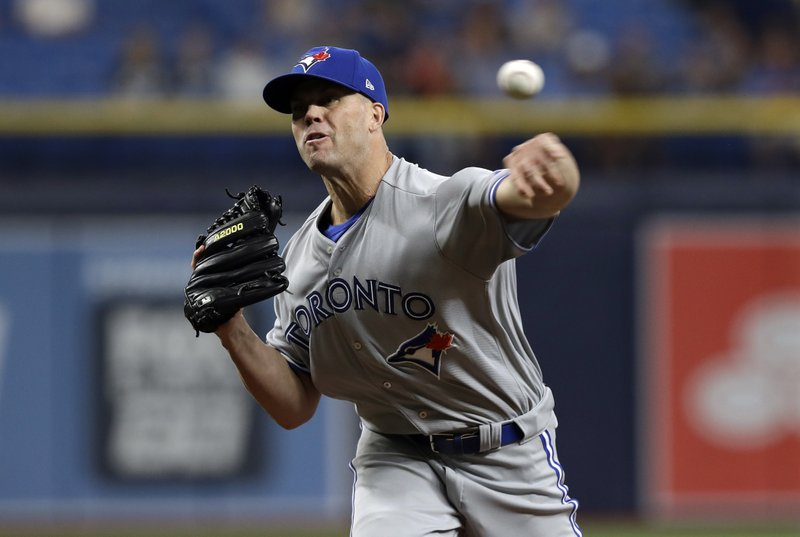 Toronto Blue Jays starting pitcher Clayton Richard delivers to the Tampa Bay Rays during the first inning of a baseball game, Tuesday, May 28, 2019, in St. Petersburg, Fla. (AP Photo/Chris O'Meara)