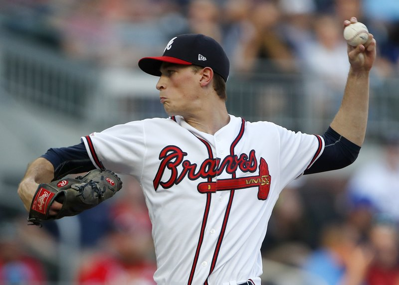 Atlanta Braves starting pitcher Max Fried (54) works in the first inning of a baseball game against the Washington Nationals, Tuesday, May 28, 2019, in Atlanta. (AP Photo/John Bazemore)