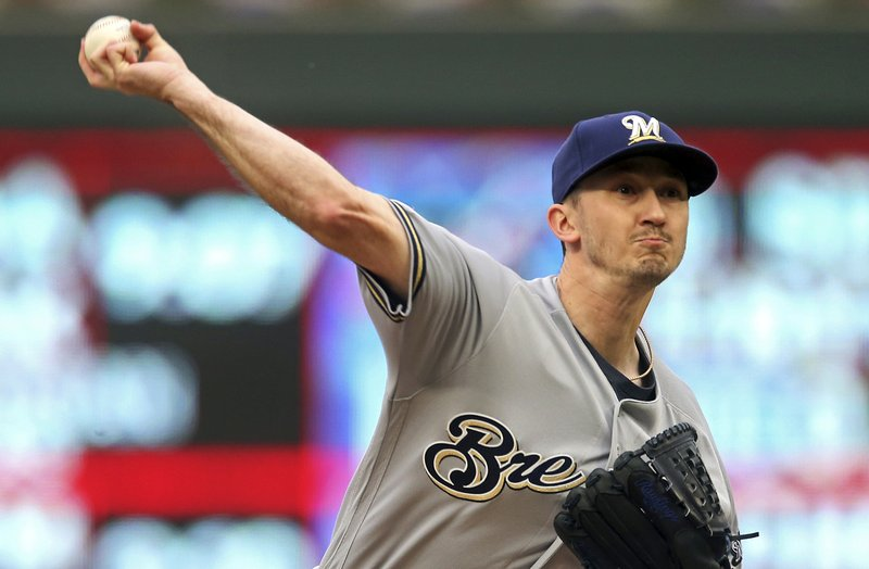 Milwaukee Brewers pitcher Zach Davies throws against the Minnesota Twins in the first inning of a baseball game, Tuesday, May 28, 2019, in Minneapolis. (AP Photo/Jim Mone)