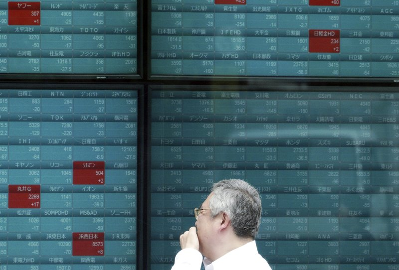 A man watches an electronic stock board showing Japan's Nikkei 225 index at a securities firm in Tokyo Wednesday, May 29, 2019. Asian shares slipped Wednesday on expectations that a trade dispute between China and the United States would simmer and possibly weigh on growth. (AP Photo/Eugene Hoshiko)