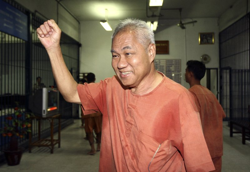 FILE - In this Feb. 28, 2012, file photo, Surachai Danwattananusorn, 70, arrives at a criminal court in Bangkok, Thailand. Surachai, a prominent critic of the Thai monarchy and establishment, went missing, along with two aides, in Laos in December 2018. The mutilated bodies of the aides were later found, dumped in a river. Surachai remains missing. (AP Photo, File)