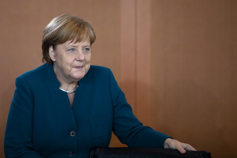 German Chancellor Angela Merkel arrives for the weekly cabinet meeting of the German government at the chancellery in Berlin, Germany, Wednesday, May 29, 2019. (AP Photo/Markus Schreiber)