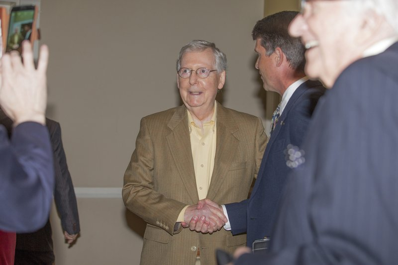 U.S. Senate Majority Leader Mitch McConnell, R-Ky., greets attendees at the Paducah Chamber luncheon at Walker Hall, Tuesday, May 28, 2019, in Paducah, Ky. (Ellen O'Nan/The Paducah Sun via AP)