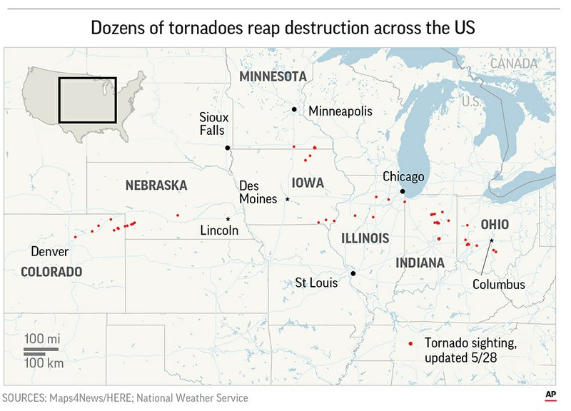 A rapid-fire line of apparent tornadoes tore across Indiana and Ohio overnight, packed so closely together that one crossed the path carved by another.;
