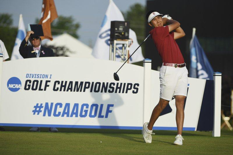 Stanford's Daulet Tuleubayev tees off on the first hole during the final round against Texas in the NCAA men's college golf tournament Wednesday, May 29, 2019, in Fayetteville, Ark. (AP Photo/Michael Woods)