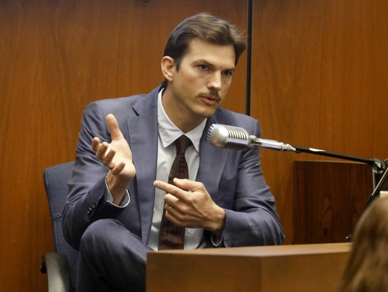Ashton Kutcher testifies in the murder trial of Michael Gargiulo in Los Angeles Superior Court, Wednesday, May 29, 2019. Gargiulo, 43, has pleaded not guilty to two counts of murder and an attempted-murder charge stemming from attacks in the Los Angeles area between 2001 and 2008, including the death of Kutcher's former girlfriend, 22-year-old Ashley Ellerin.  (Genaro Molina/Los Angeles Times via AP, Pool)