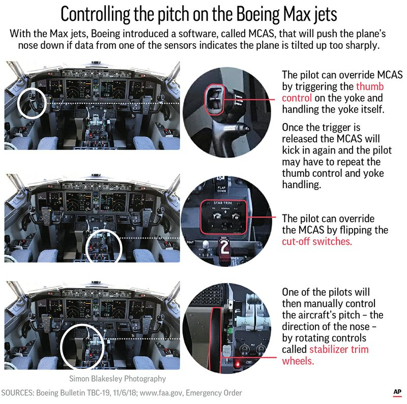 With the Max jets Boeing introduced software, called MCAS, that will push the plane's nose