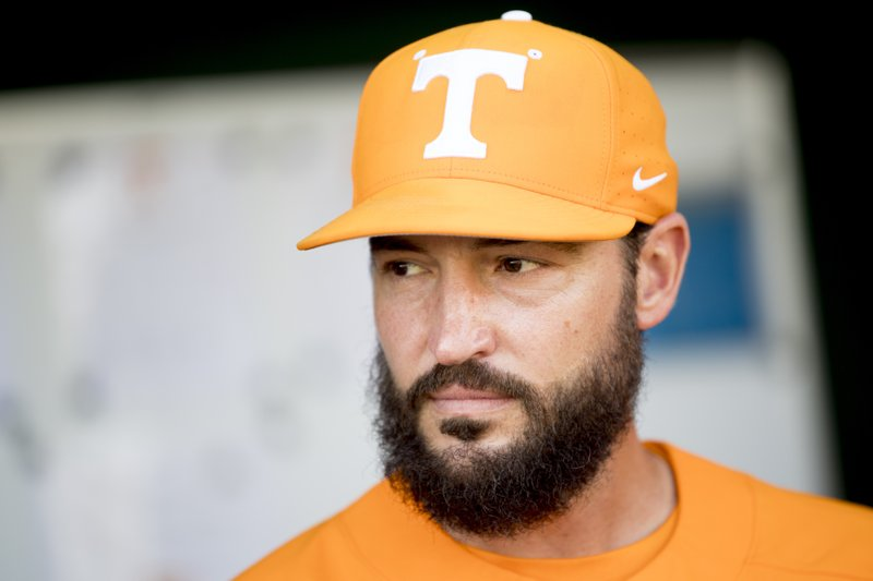 Tennessee NCAA college baseball coach Tony Vitello is shown before a game in Knoxville, Tenn., Tuesday, April 9, 2019. Tennessee's ability to respond to adversity helped the Volunteers end the Southeastern Conference's longest NCAA Tournament drought. Tennessee makes its first NCAA Tournament appearance since 2005 on Friday, May 31 when it faces Liberty in Chapel Hill, N.C. (Calvin Mattheis/Knoxville News Sentinel via AP)