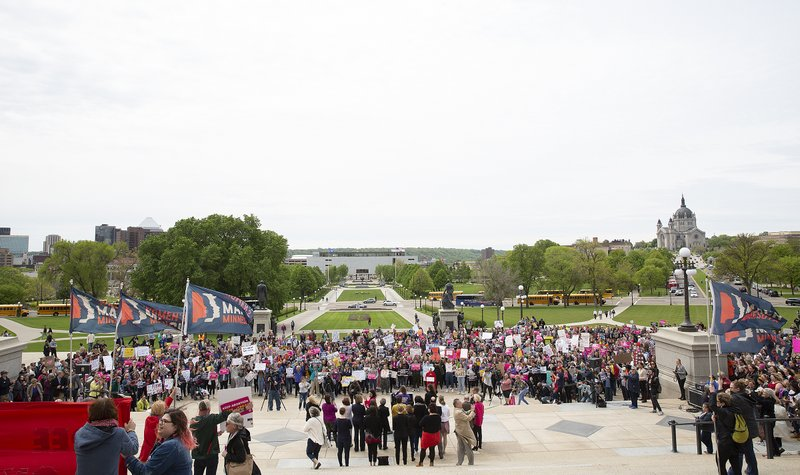 Demonstrators take part in a protest against abortion bans, Tuesday, May 21, 2019, at the state Capitol in St. Paul, Minn. (Christine T. Nguyen/Minnesota Public Radio via AP)