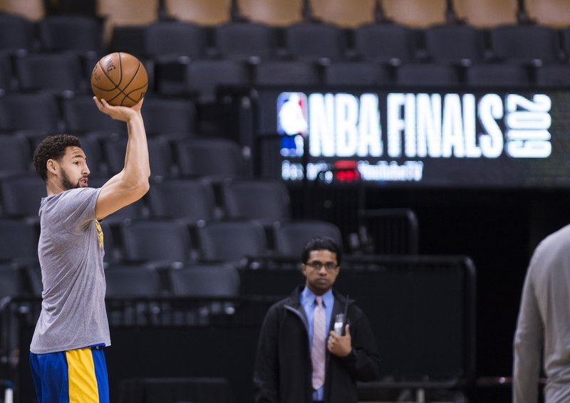 Golden State Warriors guard Klay Thompson shoots during practice for the NBA Finals against the Toronto Raptors in Toronto, Wednesday, May 29, 2019. Game 1 of the NBA Finals is Thursday in Toronto. (Nathan Denette/The Canadian Press via AP)