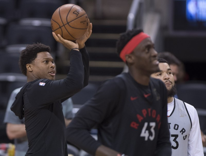 Toronto Raptors' Kyle Lowry shoots 3 pointers during practice for the NBA Finals in Toronto on Wednesday, May 29, 2019. Game 1 of the NBA Finals between the Raptors and Golden State Warriors is Thursday in Toronto. (Frank Gunn/The Canadian Press via AP)