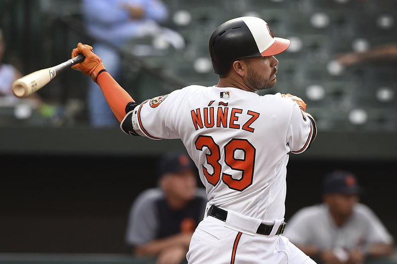 Baltimore Orioles' Renato Nunez follows through on an RBI double against the Detroit Tigers during the first inning of a baseball game Wednesday, May 29, 2019, in Baltimore. (AP Photo/Gail Burton)