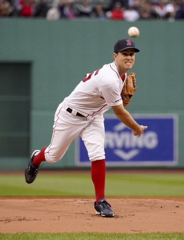 Boston Red Sox starting pitcher Ryan Weber throws during the first inning of the team's baseball game against the Cleveland Indians, Wednesday, May 29, 2019, in Boston. (AP Photo/Mary Schwalm)