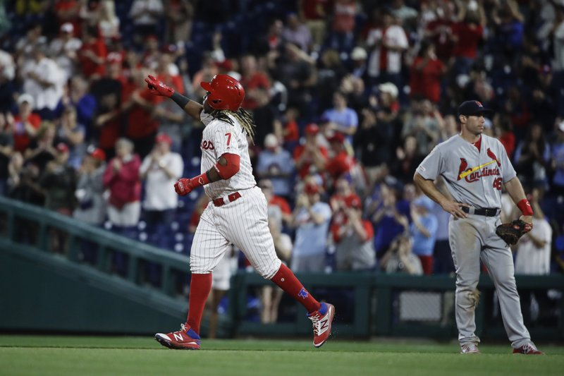 Philadelphia Phillies' Maikel Franco runs the bases after hitting a home run off of St. Louis Cardinals starting pitcher Michael Wacha during the fifth inning of a baseball game, Wednesday, May 29, 2019, in Philadelphia. (AP Photo/Matt Rourke)