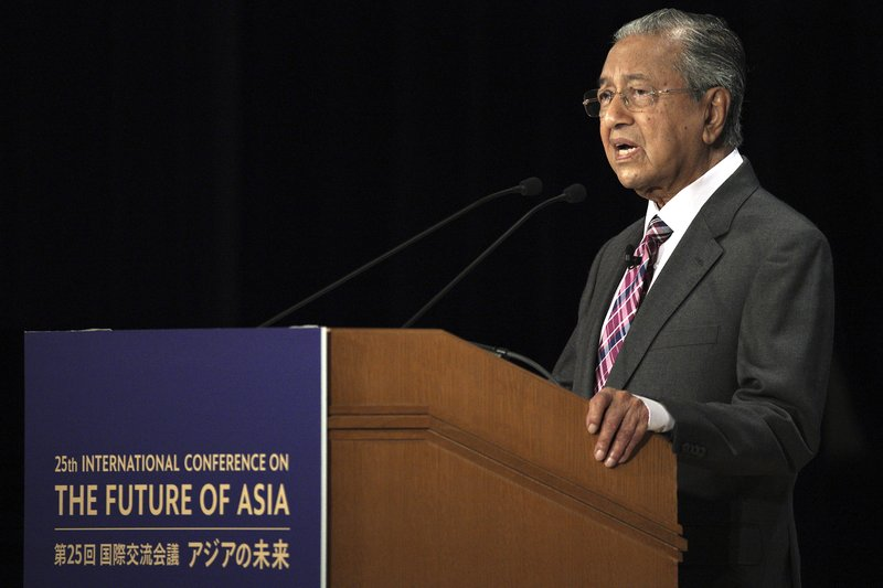 Malaysia's Prime Minister Mahathir Mohamad delivers a keynote speech at the special session of the International Conference on