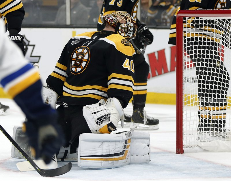 Boston Bruins goaltender Tuukka Rask, of Finland, reacts after allowing a goal by St. Louis Blues' Vladimir Tarasenko, of Russia, during the first period in Game 2 of the NHL hockey Stanley Cup Final, Wednesday, May 29, 2019, in Boston. (AP Photo/Michael Dwyer)