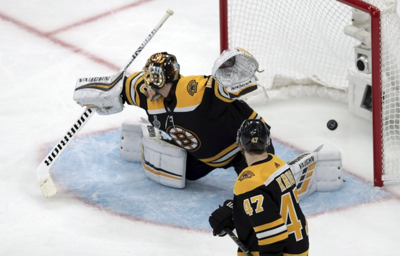 CORRECTS SOURCE AND PHOTOGRAPHER'S NAME - The winning shot by St. Louis Blues' Carl Gunnarsson, of Sweden, sails into the goal past Boston Bruins goaltender Tuukka Rask, of Finland, as Torey Krug watches during the first overtime period in Game 2 of the NHL hockey Stanley Cup Final, Wednesday, May 29, 2019, in Boston. (AP Photo/Charles Krupa)