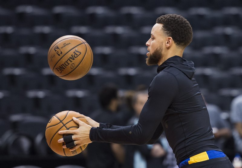 Golden State Warriors basketball guard Stephen Curry takes part in practice for the NBA Finals against the Toronto Raptors in Toronto, Wednesday, May 29, 2019. Game 1 of the NBA Finals is Thursday in Toronto. (Nathan Denette/The Canadian Press via AP)
