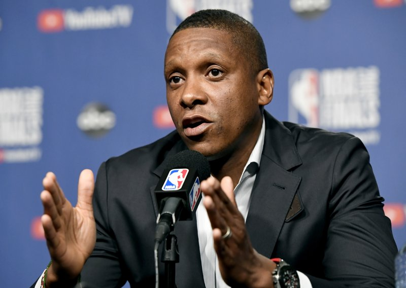 Toronto Raptors basketball team general manager Masai Ujiri speaks during a media availability in Toronto, Wednesday, May 29, 2019. Game 1 of the NBA Finals between the Raptors and Golden State Warriors is Thursday in Toronto. (Frank Gunn/The Canadian Press via AP)