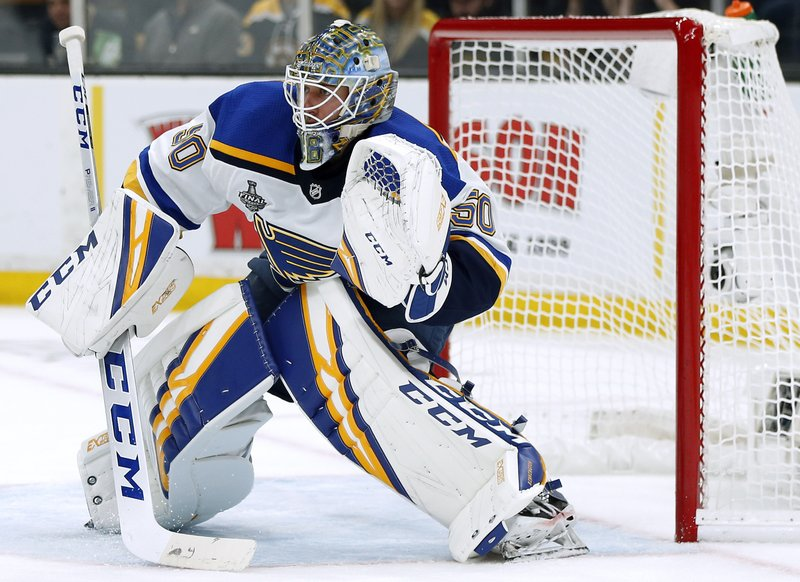 St. Louis Blues goaltender Jordan Binnington defends the net during the second period in Game 2 of the NHL hockey Stanley Cup Final against the Boston Bruins, Wednesday, May 29, 2019, in Boston. (AP Photo/Michael Dwyer)