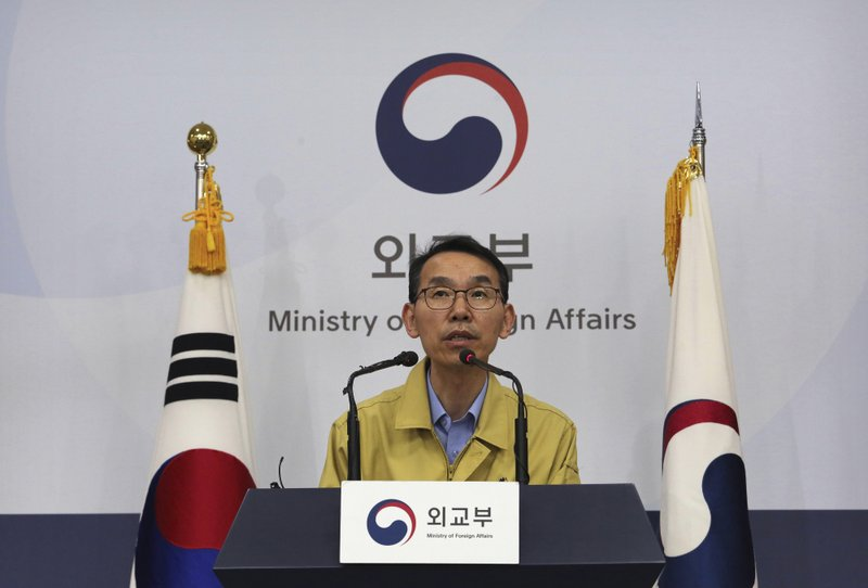 Kang Hyung-sik, head of South Korean Foreign Ministry response team, speaks during a briefing at the Foreign Ministry in Seoul, South Korea, Thursday, May 30, 2019. A tour agency says the family members of seven South Koreans killed during a boat capsizing in Budapest will fly to the Hungarian capital as early as Thursday night. (AP Photo/Ahn Young-joon)