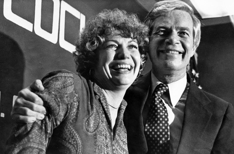 FILE - In this June 7, 1978, file photo, Congressman Thad Cochran embraces his wife, Rose, as he greets supporters in Jacson, Miss., after winning the GOP nomination in his race for the U.S. Senate. Seven-term Republican Sen. Thad Cochran, who used seniority to steer billions of dollars to his home state of Mississippi, died Thursday, May 30, 2019. He was 81.   (AP Photo/TS, File)