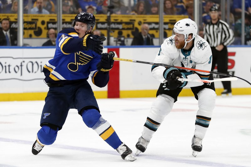 St. Louis Blues center Oskar Sundqvist (70), of Sweden, and San Jose Sharks center Joe Pavelski (8) battle for the puck during the first period in Game 4 of the NHL hockey Stanley Cup Western Conference final series Friday, May 17, 2019, in St. Louis. (AP Photo/Jeff Roberson)
