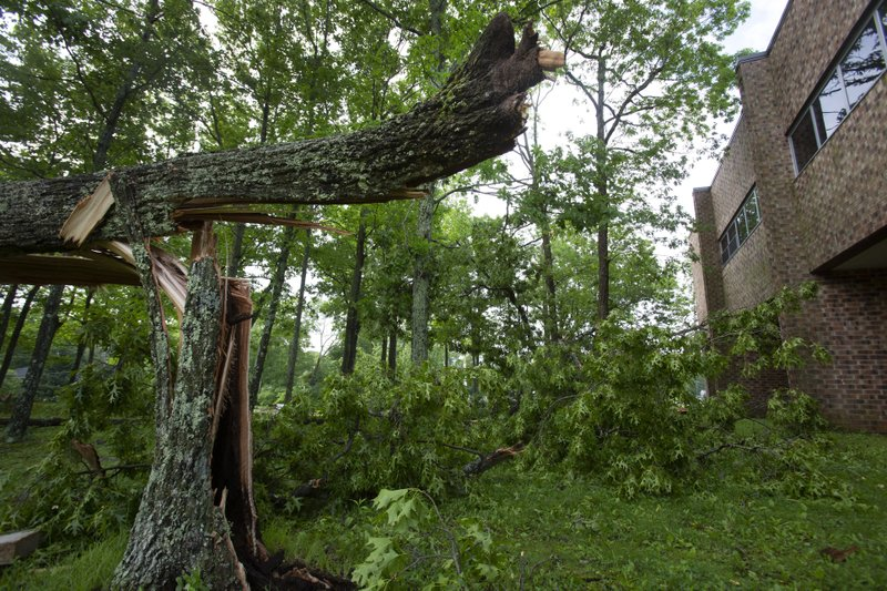 A snapped tree trunk lays near the entrance of Lenape Valley Regional High School in Stanhope, N.J. on Wednesday, May 29, 2019.  Lenape Valley Regional High School is closed Wednesday after a storm damaged its facade and ripped up a dugout from its baseball field Tuesday evening. The town also experienced fallen tree branches and downed power lines.  (Michael Mancuso/NJ Advance Media via AP)