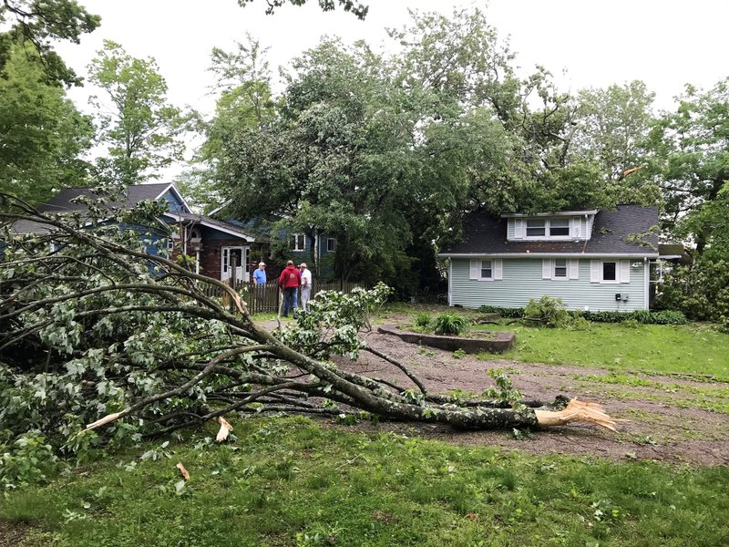 A tree limb has fallen near a home in Stanhope, N.J., Wednesday, May 29, 2019. The National Weather Service has confirmed that a tornado struck the area Tuesday night. (Kaitlyn Kanzler/The Record via AP)