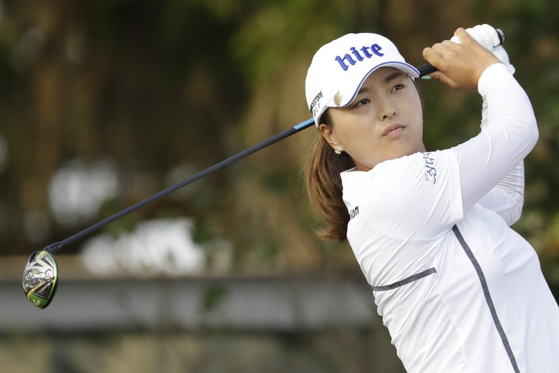 Jinyoung Ko of South Korea, watches her shot off the first tee during the first round of the U.S. Women's Open golf tournament, Thursday, May 30, 2019, in Charleston. (AP Photo/Steve Helber)