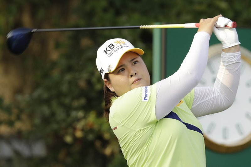 Inbee Park of South Korea, watches her shot off the first tee during the first round of the U.S. Women's Open golf tournament, Thursday, May 30, 2019, in Charleston. (AP Photo/Steve Helber)