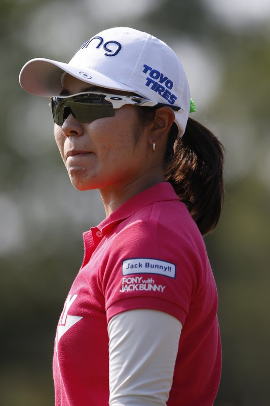 Mamiko Higa of Japan, watches play on the nine hole during the first round of the U.S. Women's Open golf tournament, Thursday, May 30, 2019, in Charleston, S.C. (AP Photo/Mic Smith)