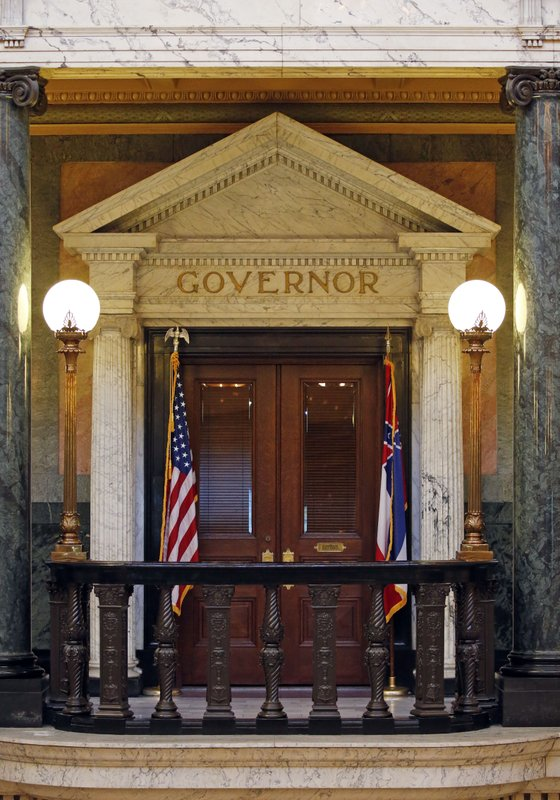 The title of governor rests above the entrance to the office at the Mississippi State Capitol in Jackson, Miss., Wednesday, May 29, 2019. A federal lawsuit being filed Thursday, seeks an injunction in this year's elections against using what it describes as a