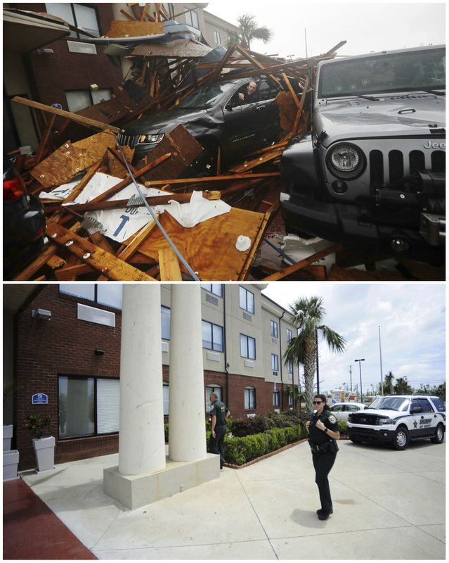 In this combination of photos, a man sits in his car during the landfall of Hurricane Michael on Oct. 10, 2018, top, in Panama City, Fla., and the same location on May 2, 2019. (AP Photos)